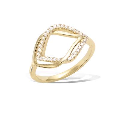 法国3微米镀金首饰 18K包金戒指 12HU0910CZ