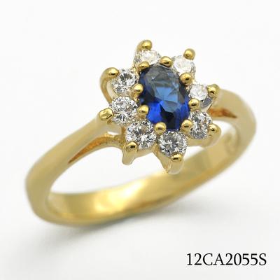 英王室传家戒指造型1镀金18K包金戒指 中心镶嵌仿蓝宝石锆石镀金铜底戒指
