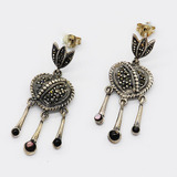 Marcasite Silver Earrings 22HG007 Made in Thailand